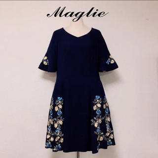 Maglie par ef-de - maglie マーリエ 刺繍 花柄 ワンピース フレア 半袖 おしゃれ 結婚式