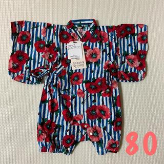 マーキーズ(MARKEY'S)のオーシャンアンドグラウンド 新品 80 花柄ロンパース 浴衣 パジャマ(甚平/浴衣)