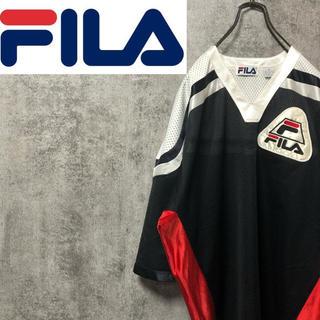 FILA - 【激レア】フィラFILA☆刺繍ロゴトリコロールメッシュゲームシャツ 90s