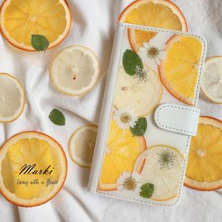 レモンとオレンジの押しフルーツケース 手帳型(スマホケース)