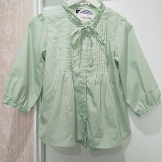 キッズミントグリーンカラー七分袖ブラウスサイズ 160(ブラウス)