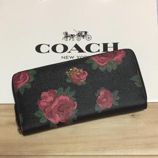 COACH - 新品 [COACH コーチ] 長財布 黒地に赤い花 花柄