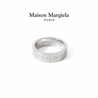 マルタンマルジェラ(Maison Martin Margiela)の新品未使用 メゾンマルジェラ 20ss シルバー ナンバー ロゴリング Sサイズ(リング(指輪))