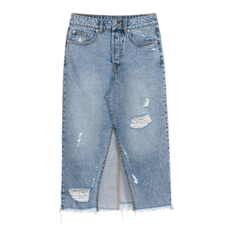 エイチアンドエム(H&M)のH&M ダメージデニムタイトスカート(ひざ丈スカート)