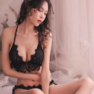 レースブラ&ショーツセクシーランジェリー♡フリーサイズ 紐 ブラック(コスプレ用インナー)