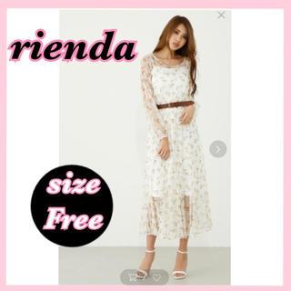 rienda - 新品 リエンダ シアーフラワー マキシワンピース ロング 花柄 ホワイト フリー