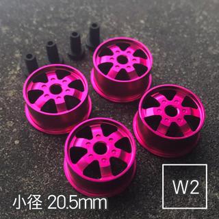 ミニ四駆 アルミホイール 4個セット(小径ディッシュ)ピンク(模型/プラモデル)