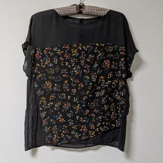 COMME CA DU MODE - コムサ ブラウス 袖なし 黒 花柄