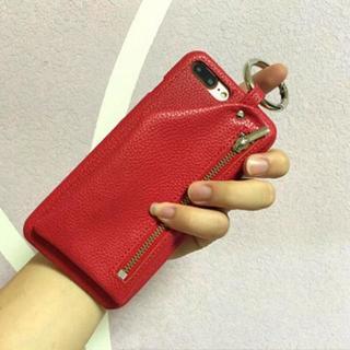 【iPhoneX/XSレッド】ファスナーポケット 小物入れ フェイクレザー