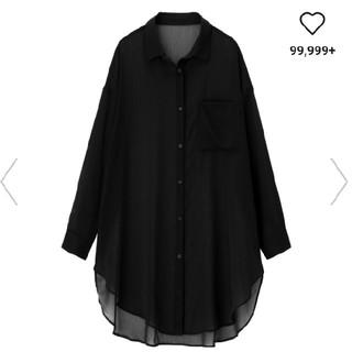 GU - 完売 gu シアーロングシャツ ブラック Sサイズ