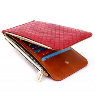 財布 メンズ レディース 二つ折り 大容量 コンパクト 薄型 赤 レザー 多機能(折り財布)
