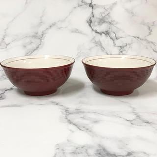 陶器に漆塗りのどんぶり 2個 根来 千筋