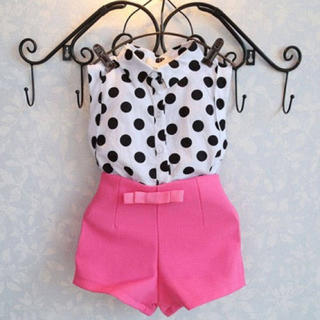 ドットシャツ☆ピンクショートパンツ☆セットアップ☆ワンピース☆女の子☆夏☆サマー