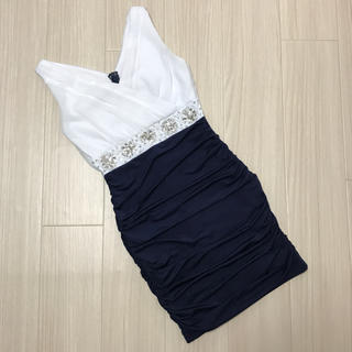 キャバ  ドレス ミニドレス   白×ネイビー Mサイズ