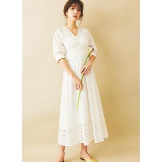 The Virgnia - ザヴァージニアカットワーク刺繍ワンピース 38Mサイズ白ホワイト01タグ付き新品