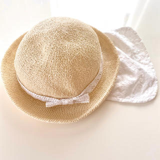 ベビー 日よけ付き 麦わら帽子 44cm ナチュラル 女の子 レース たれ付き(帽子)