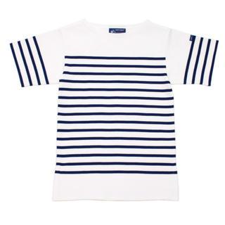 セントジェームス(SAINT JAMES)のセントジェームス ナヴァル 半袖 白×マリン XXS T0(Tシャツ(半袖/袖なし))
