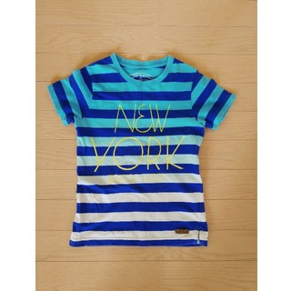 L☆B ラボ 半袖Tシャツ 130 ボーダー ブルー 青