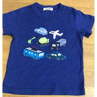 familiar - ファミリア 半袖 Tシャツ 110 カットソー 紺 車 電車 ファミリアチェック