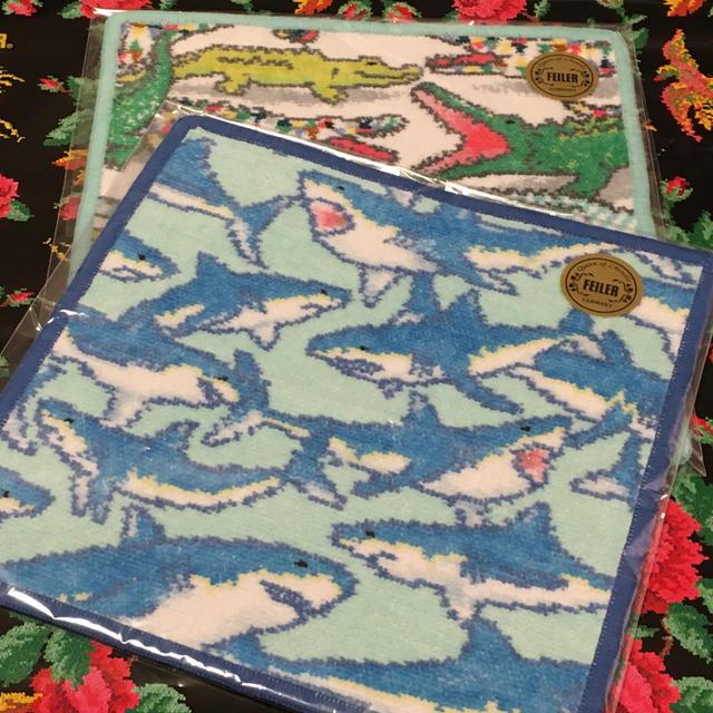 FEILER(フェイラー)のゴーゴーアリゲーター&シャークブルー【新品未使用】FEILER ハンカチ2枚 レディースのファッション小物(ハンカチ)の商品写真