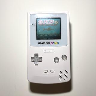 ゲームボーイ(ゲームボーイ)のゲームボーイカラーホワイト×透明 バックライトプロサウンド可 新品外装LED(携帯用ゲーム機本体)