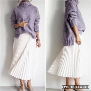 ドゥロワー(Drawer)のcen. プリーツスカート ミドル丈 サイズ38 白 タグ付き (ロングスカート)
