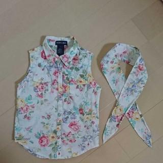 Ralph Lauren - Ralph Lauren 花柄のノースリーブシャツ リボンつき 110