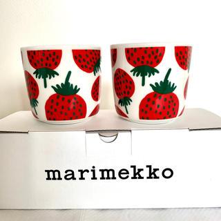 marimekko - マリメッコ Mansikka マンシッカ ラテマグ コーヒーカップセット イチゴ
