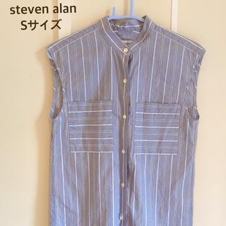 スティーブンアラン(steven alan)の美品 スティーブンアラン ノースリーブ ストライプ シャツ Sサイズ ブルー系(シャツ/ブラウス(半袖/袖なし))