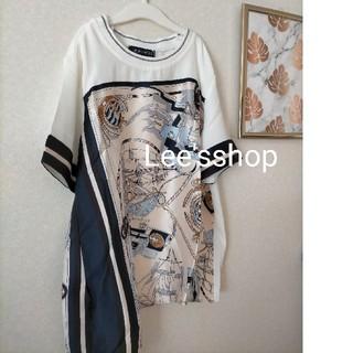 ZARA - レディース スカーフ Tシャツ 半袖 夏 新品 未着用 Lサイズ