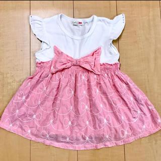 ニットプランナー(KP)のKP ニットプランナー 110cm 切替リボン刺繍半袖トップス チュニックピンク(Tシャツ/カットソー)