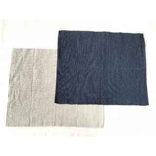 ムジルシリョウヒン(MUJI (無印良品))の☆無印良品 ネイビーブルーゴールドブラウン インド綿手織ランチョンマット 2枚☆(テーブル用品)