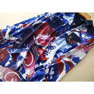 デシグアル(DESIGUAL)のDesigual Mシャツ 幸せ青鳥ブランド 夏 レディース(シャツ/ブラウス(長袖/七分))
