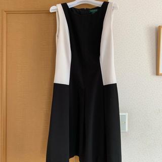 ラルフローレン(Ralph Lauren)の♡ラルフローレン♡ミニワンピ♡ホワイト×ブラック♡サイズ2P(ミニワンピース)