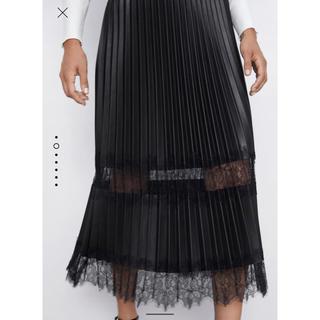 ザラ(ZARA)の ZARA コントラスト プリーツ スカート 新品未使用品 完売(ひざ丈スカート)