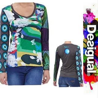 デシグアル(DESIGUAL)のDesigual ブルーグリーンマルチカラー バタフライプリント カットソー(Tシャツ(長袖/七分))