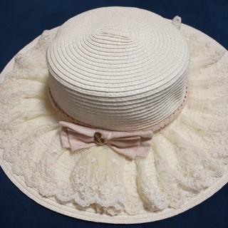 リズリサ(LIZ LISA)のLIZ LISA 麦わら帽子 ハット カンカン帽 未使用 ゆめかわ ロリータ(麦わら帽子/ストローハット)