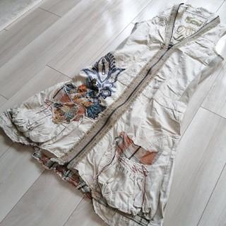 デシグアル(DESIGUAL)のDESIGUAL デシグアル ワンピース ベージュ アースカラー 刺繍(ひざ丈ワンピース)