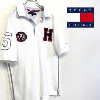 TOMMY HILFIGER - 美品 TOMMY HILFIGER ロゴ ポロシャツ メンズ L ホワイト