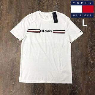 トミーヒルフィガー(TOMMY HILFIGER)のトミーヒルフィガー 半袖 Tシャツ ラバー ラインロゴ(L)白 181214(Tシャツ/カットソー(半袖/袖なし))