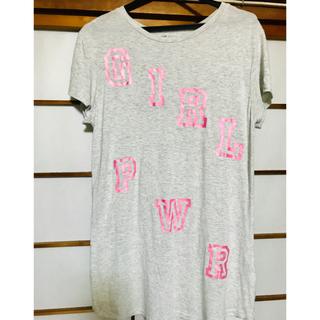 エイチアンドエム(H&M)のH&M 可愛いグレーとピンクのTシャツ(Tシャツ(半袖/袖なし))