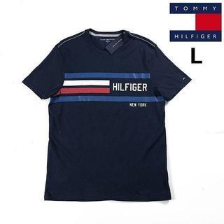 トミーヒルフィガー(TOMMY HILFIGER)のトミーヒルフィガー 半袖 Tシャツ ロゴプリント 刺繍(L)紺 181214(Tシャツ/カットソー(半袖/袖なし))