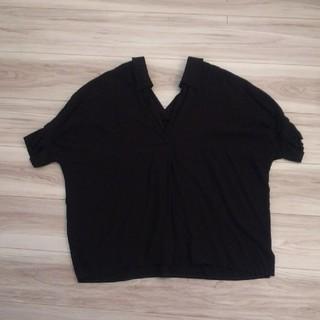 merlot - メルロー✡️黒のスキッパー襟 半袖ブラウス
