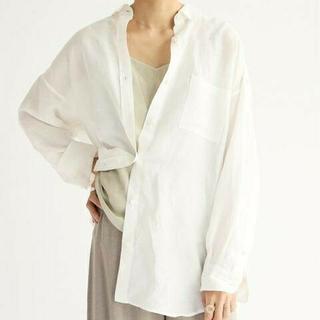 IENA - 新品タグ付 イエナ リネン/リヨセルオーバーシャツ◆ホワイト 36