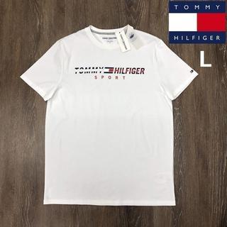 トミーヒルフィガー(TOMMY HILFIGER)のトミーヒルフィガースポーツ Tシャツ フラッグロゴ刺繍(L)白 181214(Tシャツ/カットソー(半袖/袖なし))