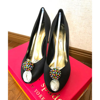 kate spade new york - ケイトスペード♤👠革靴黒ヒールパンプス✨ストーン靴🌼