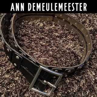 アンドゥムルメステール(Ann Demeulemeester)のAnn  Demeulemeester スタッズ二連ベルト ブラック メンズ(ベルト)