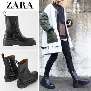 ZARA - ZARAトラックソールレザーブーツ