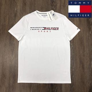 トミーヒルフィガー(TOMMY HILFIGER)のトミーヒルフィガースポーツ Tシャツ フラッグロゴ刺繍(M)白 181214(Tシャツ/カットソー(半袖/袖なし))