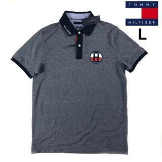 トミーヒルフィガー(TOMMY HILFIGER)のトミー ヒルフィガー ポロシャツ Hロゴワッペン USA限定(L)紺181214(ポロシャツ)